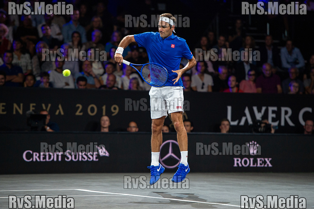 GENEVA, SWITZERLAND - SEPTEMBER 20: Roger Federer of Team Europe plays a backhand during Day 1 of the Laver Cup 2019 at Palexpo on September 20, 2019 in Geneva, Switzerland. The Laver Cup will see six players from the rest of the World competing against their counterparts from Europe. Team World is captained by John McEnroe and Team Europe is captained by Bjorn Borg. The tournament runs from September 20-22. (Photo by Monika Majer/RvS.Media)