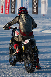 Mikhail Lyubimov racing his Harley-Davidson Sportster on which he hit 164 kmh (102 mph) on the 1-mile ice track in the Baikal Mile Ice Speed Festival. Maksimiha, Siberia, Russia. Friday, February 28, 2020. Photography ©2020 Michael Lichter.