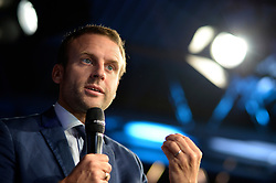 Former French Economy Minister and founder of political mouvement 'En marche!' Emmanuel Macron visits the Mondial Coiffure Beaute 2016 International Hair and Beauty Fair in Paris, France on September 12, 2016. Photo by Eliot Blondet/ABACAPRESS.COM