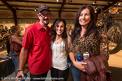 Laura and Brian Klock with their daughter Karlee Cobb on the Industry party night for Michael Lichter's tattoo themed Skin & Bones Motorcycles as Art exhibition at the Buffalo Chip during the annual Sturgis Black Hills Motorcycle Rally.  SD, USA.  August 7, 2016.  Photography ©2016 Michael Lichter.