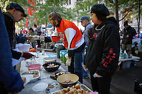 The food station at the Occupy Wall Street protest in New York's Zuccotti Park...Photo by Robert Caplin.