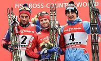 Langrenn<br /> FIS World Cup<br /> 11.01.2015<br /> Foto: Gepa/Digitalsport<br /> NORWAY ONLY<br /> <br /> VAL DI FIEMME ITALIA<br /> <br /> FIS World Cup, Tour de Ski, 9km freestyle pursuit, men, award ceremony. Image shows Petter Northug, Martin Johnsrud Sundby (NOR) and Evgeniy Belov (RUS).