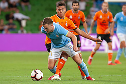 January 11, 2019 - Melbourne, VIC, U.S. - MELBOURNE, VIC - JANUARY 11: Melbourne City defender Scott Jamieson (3) defends the ball at the Hyundai A-League Round 13 soccer match between Melbourne City FC and Brisbane Roar FC at AAMI Park in VIC, Australia 11th January 2019. (Photo by Speed Media/Icon Sportswire) (Credit Image: © Speed Media/Icon SMI via ZUMA Press)