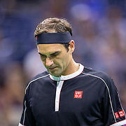 2019 US Open Tennis Tournament- Day Nine.  Roger Federer of Switzerland during his loss against Grigor Dimitrov of Bulgaria in the Men's Singles Quarter-Finals match on Arthur Ashe Stadium during the 2019 US Open Tennis Tournament at the USTA Billie Jean King National Tennis Center on September 3rd, 2019 in Flushing, Queens, New York City.  (Photo by Tim Clayton/Corbis via Getty Images)