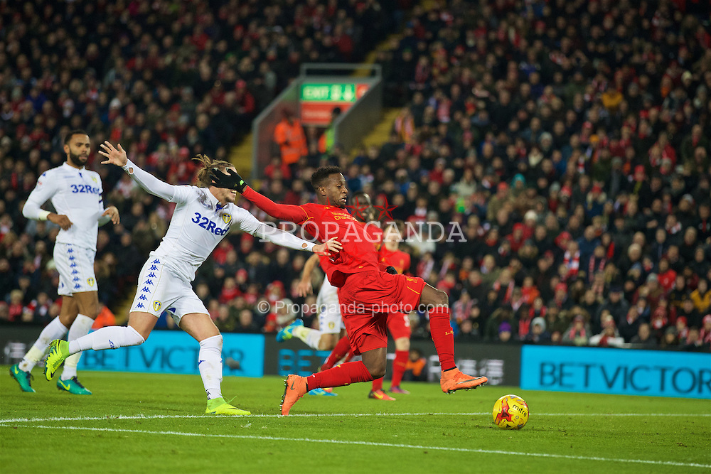 LIVERPOOL, ENGLAND - Tuesday, November 29, 2016: Liverpool's Divock Origi scores the first goal against Leeds United during the Football League Cup Quarter-Final match at Anfield. (Pic by David Rawcliffe/Propaganda)