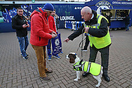 Security staff and sniffer dogs checking supporters bags outside Stamford Bridge before k/o. Premier league match, Chelsea v Tottenham Hotspur at Stamford Bridge in London on Saturday 26th November 2016.<br /> pic by John Patrick Fletcher, Andrew Orchard sports photography.