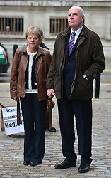 © Licensed to London News Pictures. 29/11/2012. Westminster, UK The parents of the murdered schoolgirl Milly Dowler, Bob and Sally, outside the Leveson Inquiry today 29th November 2012. Photo credit : Stephen Simpson/LNP