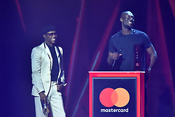 EDITORIAL USE ONLY.<br /><br />Nile Rodgers on stage as Stormzy wins Best British Album at the Brit Awards at the O2 Arena, London.