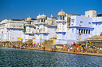 Ghats on Pushkar Lake (Holy Lake) during the Pushkar Fair, Rajasthan, India