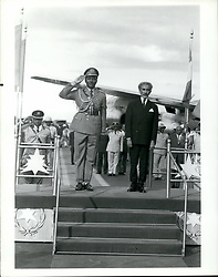 May 05, 1973 - Yakubu Gowon (left), head of the military government of Nigeria arrive up for the 10th OAU meeting in Addis A~~~~ - right: Emperor Haile Solomon. (Credit Image: © Keystone Press Agency/Keystone USA via ZUMAPRESS.com)