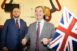 "© Licensed to London News Pictures . 22/09/2018. Bolton, UK. NIGEL FARAGE back stage . Pro Brexit campaign group Leave Means Leave host a "" Save Brexit "" and "" Chuck Chequers "" rally at the University of Bolton Stadium , attended by leave-supporting politicians from a cross section of parties , including Conservative David Davis , former UKIP leader Nigel Farage and Labour's Kate Hoey . Photo credit: Joel Goodman/LNP"