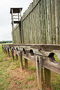 Prisoner stockades at Andersonville National Historic Site home to the former Camp Sumter Confederate prisoner of war camp where 45,000 Union prisoners were held May 6, 2013 in Andersonville, Georgia.