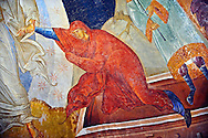 The 11th century Roman Byzantine Church of the Holy Saviour in Chora and its Anastasis fresco of the parecclesion chapel. Christ is depicted saving  Eve by reurecting them from their sarcophagi. Endowed between 1315-1321 by the powerful Byzantine statesman and humanist  Theodore Metochites. Kariye Museum  Istanbul .<br /> <br /> If you prefer to buy from our ALAMY PHOTO LIBRARY  Collection visit : https://www.alamy.com/portfolio/paul-williams-funkystock/holy-saviour-chora-istanbul.html<br /> <br /> Visit our TURKEY PHOTO COLLECTIONS for more photos to download or buy as wall art prints https://funkystock.photoshelter.com/gallery-collection/3f-Pictures-of-Turkey-Turkey-Photos-Images-Fotos/C0000U.hJWkZxAbg