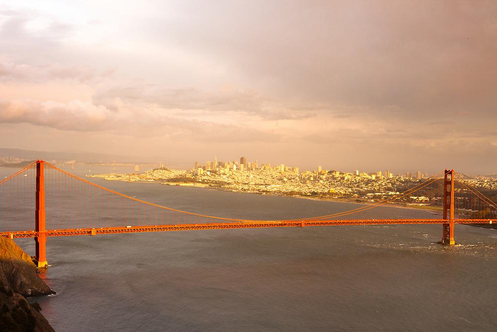 The Golden Gate Bridge in San Francisco at sunset, California, USA