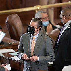 Austin, TX USA March 31, 2021:  State Rep. Morgan Meyer, R-Dallas on the floor of the Texas House of Representatives during routine bill readings at the 87th Texas legislative session. Emergency bills include power company regulation, border security and the coronavirus response.