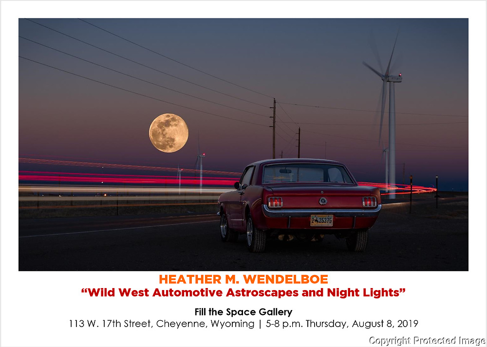 """Original gallery print on aluminum, ready to hang.<br /> Limited Edition of 11 photographic prints on Kodak Endura Metallic stock, unframed. <br /> * *** * *** * *** * *** * *** * *** * *** *<br /> HEATHER M. WENDELBOE <br /> """"Wild West Automotive Astroscapes and Night Lights""""<br /> <br /> Fill the Space Gallery<br /> 113 W. 17th Street, Cheyenne, Wyoming 