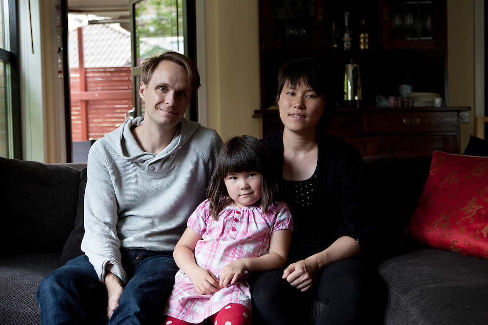 Stolplyckan co-housing in Linköping, Sweden, August 20, 2012. Stolplyckan collective, one of the biggest in Sweden with 184 apartments. Viktor and her wife Katarina with their daughter Alma. They moved to Stolplyckan in 2001. Nowadays they also have a son, Oscar.