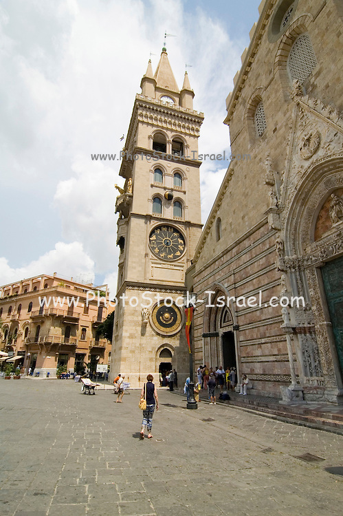 The Cathedral, Duomo, and bell tower at Messina Sicily, Italy, at 12 o'clock noon, July 2006. Both buildings were rebuilt in 1920 and then again in 1943 but follow the plans of the original structures. The steeple now houses a clock which is unique in the world for its complexity, including an astronomical calendar, built by the Ungerer firm of Strasbourg to the orderer of Archbishop Paino (1933).
