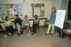 Female teacher using flip chart to teach students,