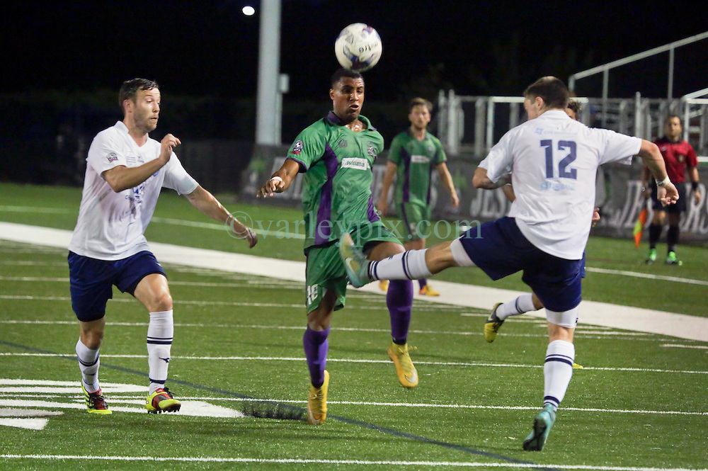 06 June 2015. New Orleans, Louisiana.<br /> National Premier Soccer League. NPSL. <br /> Ryan Reid of the New Orleans Jesters plays Chattanooga FC in a Conference game at home in the Pan American Stadium. Chattanooga take a 4-0 victory over the Jesters.<br /> Photo; Charlie Varley/varleypix.com