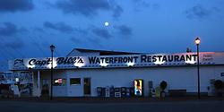 Captain Bill's Seafood on a moonlit night, Moorhead City, NC, USA.