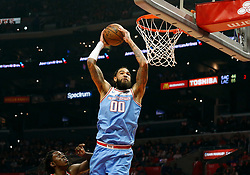 January 27, 2019 - Los Angeles, CA, U.S. - LOS ANGELES, CA - JANUARY 27: Sacramento Kings Center Willie Cauley-Stein (00) goes up for a dunk during the game against the Los Angeles Clippers on January 27, 2019, at Staples Center in Los Angeles, CA. (Photo by Adam  Davis/Icon Sportswire) (Credit Image: © Adam Davis/Icon SMI via ZUMA Press)