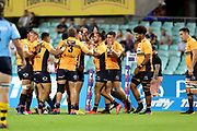 Brumbies celebrate the Tom Banks try. NSW Waratahs v ACT Brumbies. 2021 Super Rugby AU Round 7 Match. Played at Sydney Cricket Ground on Friday 2 April 2021. Photo Clay Cross / photosport.nz