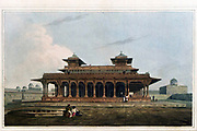 Part of the Palace in the Fort of Allahabad, September 1795 This building, composed chiefly of freestone, was erected by the Emperor Akbar, the pillars are richly ornamented, and the whole executed in a masterly style. In the centre of the terrace, on the top of the building, stood a turret of white marble, very elegantly finished, which was taken down by order of the Nabob of Oud, and sent to Lucknow in the year 1789From the book ' Oriental scenery: one hundred and fifty views of the architecture, antiquities and landscape scenery of Hindoostan ' by Thomas Daniell, and William Daniell, Published in London by the Authors January 1, 1812