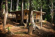 Near complete wooden jungle cabin dramatically set in primary and secondary rain forest in La Zona Sur of Costa Rica