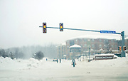Feb 10,2010 - Herndon, Va USA - A man returns from the supermarket during  blizzard conditions in historic Herndon, Virginia on Wednesday.(Credit Image: ©Pete Marovich/ZUMA Press)