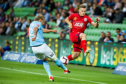 February 9, 2019 - Melbourne, VIC, U.S. - MELBOURNE, AUSTRALIA - February 09 : Ritchie de Laet of Melbourne City  and Scott Galloway of Adelaide United  contest the ball during round 18 of the Hyundai A-League Series between Melbourne City and Adelaide United on February 9 2019, at AAMI Park in Melbourne, Australia. (Photo by Jason Heidrich/Icon Sportswire) (Credit Image: © Jason Heidrich/Icon SMI via ZUMA Press)