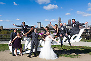 fun bridal party at Cleveland Script Sign by Tallmadge wedding photographer, Cleveland wedding photographer Mara Robinson Photography