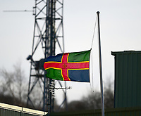 A general view of Sincil Bank, home of Lincoln City FC with the `Lincolnshire flag at half mast in memory of Ian Whyte, a former Youth coach at Lincoln City<br /> <br /> Photographer Andrew Vaughan/CameraSport<br /> <br /> The EFL Sky Bet League Two - Lincoln City v Northampton Town - Saturday 9th February 2019 - Sincil Bank - Lincoln<br /> <br /> World Copyright © 2019 CameraSport. All rights reserved. 43 Linden Ave. Countesthorpe. Leicester. England. LE8 5PG - Tel: +44 (0) 116 277 4147 - admin@camerasport.com - www.camerasport.com