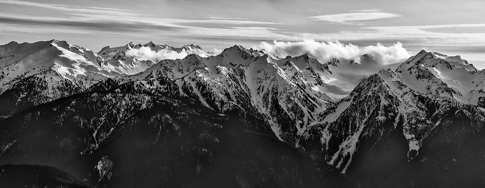Panorama of Olympic Mountains, Elwha River headwaters, afternoon light, April, view from Hurricane Ridge, Olympic National Park, Washington, USA