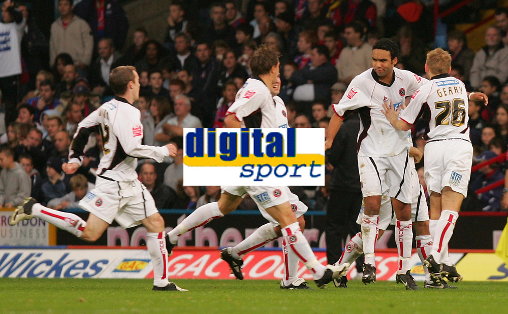 Photo: Frances Leader.<br />Crystal Palace v Sheffield Utd. Coca Cola Championship.<br />05/11/2005.<br />United's Paul Ifill (2nd, R) celebrates his goal
