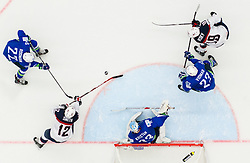 Marcel Rodman of Slovenia, Ben Smith of USA, Robert Kristan of Slovenia, Luka Vidmar of Slovenia and Jimmy Vesey of USA during Ice Hockey match between Slovenia and USA at Day 10 in Group B of 2015 IIHF World Championship, on May 10, 2015 in CEZ Arena, Ostrava, Czech Republic. Photo by Vid Ponikvar / Sportida