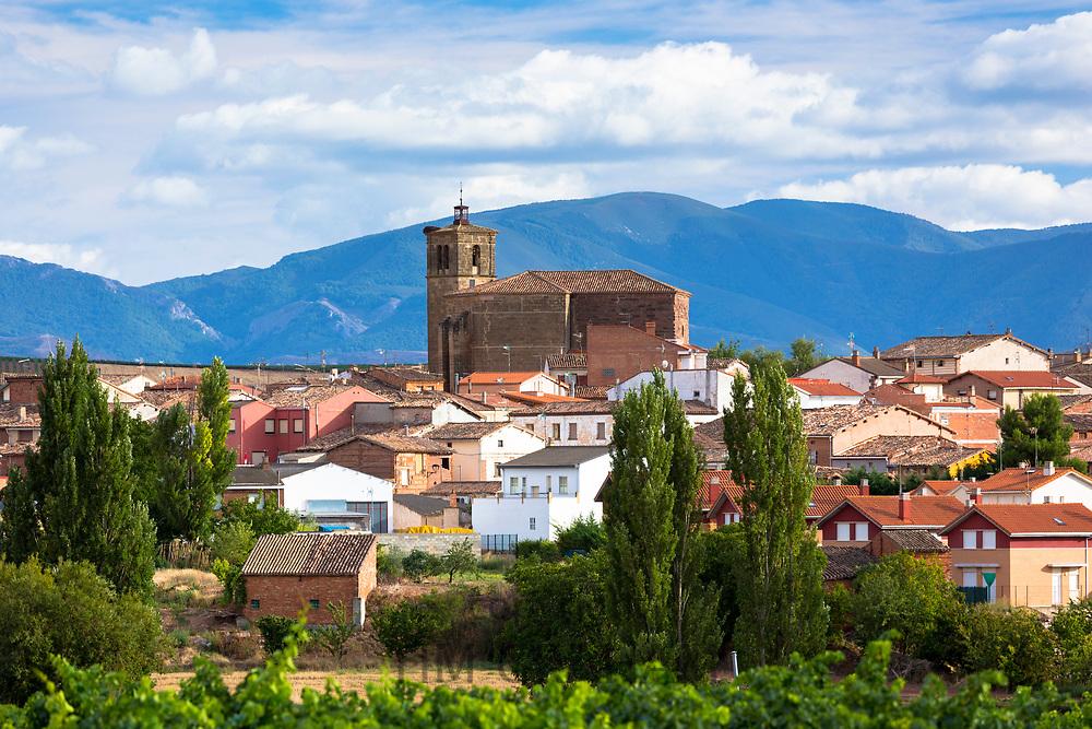 Iglesia de Nuestra Senora de los Angeles church and town of Azofra near Santo Domingo de la Calzada in Castilla y Leon, Spain