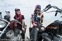 Sarah Furey, Kissa Von Addams and the Iron Lillies on the beach for the Hot Leathers ride during the Daytona Bike Week 75th Anniversary event. FL, USA. Tuesday March 8, 2016.  Photography ©2016 Michael Lichter.