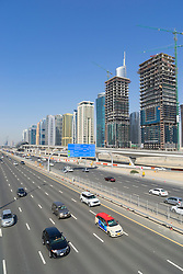 Skyline of Jumeirah Lakes Towers (JLT) and Sheikh Zayed Road in Dubai United Arab Emirates