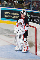 KELOWNA, CANADA, NOVEMBER 23: Devon Fordyce #35 of the Prince George Cougars defends the net as the Prince George Cougars visit the Kelowna Rockets  on November 23, 2011 at Prospera Place in Kelowna, British Columbia, Canada (Photo by Marissa Baecker/Shoot the Breeze) *** Local Caption ***