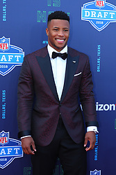 April 26, 2018 - Arlington, TX, U.S. - ARLINGTON, TX - APRIL 26:   Penn State running back Saquon Barkley on the Red Carpet at AT&T Statium prior to the 2018 NFL Draft on April 26, 2018 at AT&T Stadium in Arlington Texas.  (Photo by Rich Graessle/Icon Sportswire) (Credit Image: © Rich Graessle/Icon SMI via ZUMA Press)