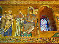 Medieval Byzantine style mosaics of St Peter & Paul & Emperor Nero, Palatine Chapel, Cappella Palatina, Palermo, Italy .<br /> <br /> If you prefer you can also buy from our ALAMY PHOTO LIBRARY  Collection visit : https://www.alamy.com/portfolio/paul-williams-funkystock/byzantine-art-antiquities.html . Type -    Palatine     - into the LOWER SEARCH WITHIN GALLERY box. Refine search by adding background colour, place, museum etc<br /> <br /> Visit our BYZANTINE MOSAIC PHOTO COLLECTION for more   photos  to download or buy as prints https://funkystock.photoshelter.com/gallery-collection/Roman-Byzantine-Art-Artefacts-Antiquities-Historic-Sites-Pictures-Images-of/C0000lW_87AclrOk