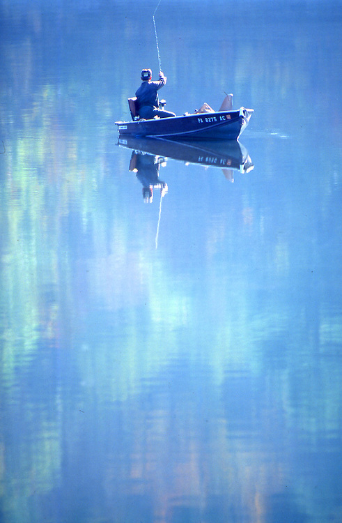 PA landscapes, fishing, spring reflections, Hills Creek State Park Fishing PA Park Lake,