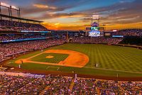 Colorado Rockies baseball game at Coors Field, Downtown Denver, Colorado USA.