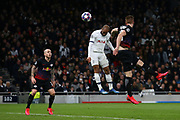 Lucas of Tottenham heads the ball wide during the UEFA Champions League match between Tottenham Hotspur and RB Leipzig, at The Tottenham Hotspur Stadium, Wednesday, Feb. 19, 2020, in London, United Kingdom. (Mitchell Gunn/Image of Sport)