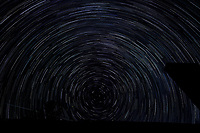 Startrail Looking North. Composite of images (02:20-03:19) taken with a Nikon D850 camera and 19 mm f/4 PC-E lens (ISO 200, 19 mm, f/4, 30 sec). Raw images processed with Capture One Pro and the composite created using Photoshop CC (scripts, statistics, maximum).