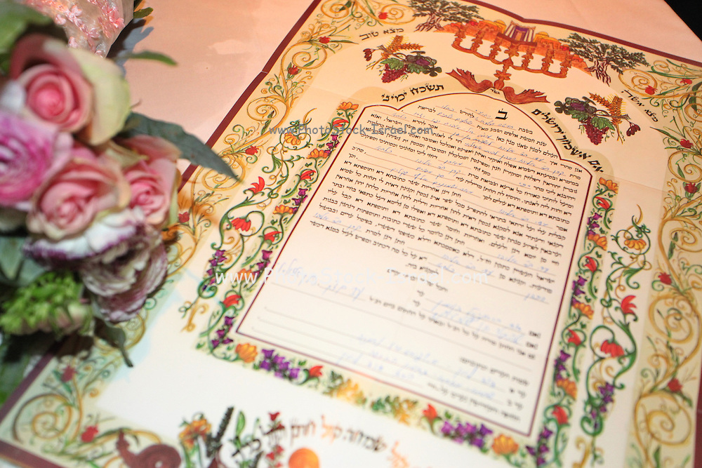 Jewish wedding ceremony The ketubah (prenuptial agreement)