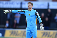 Joe Day, the Newport county goalkeeper looks on. EFL cup, 1st round match, Newport county v Milton Keynes Dons at Rodney Parade in Newport, South Wales on Tuesday 9th August 2016.<br /> pic by Andrew Orchard, Andrew Orchard sports photography.