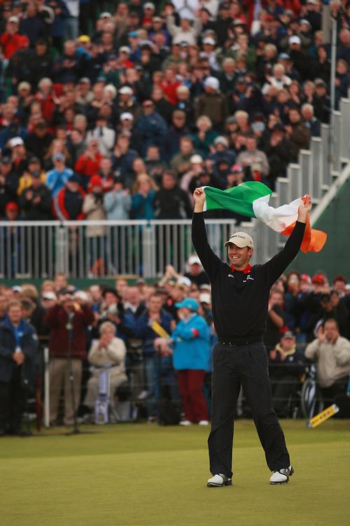 CARNOUSTIE, SCOTLAND - JULY 22:  Padraig Harrington waves the Irish flag after winning the 136th Open Championship in Carnoustie, Scotland at Carnoustie Golf Links on Sunday, July 22, 2007. (Photo by Darren Carroll/Getty Images) *** LOCAL CAPTION *** Padraig Harrington