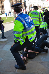 © Licensed to London News Pictures. 15/03/2014. London, UK. Clashes between members of the Fascist group E.V.F. anti Anti Fascists groups in Parliament Square. Photo credit : Andrea Baldo/LNP